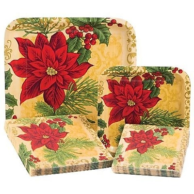 Creative Converting Opulent Poinsettia 4 Piece Dinnerware Set (Set of 64) WYF078278152424