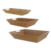 MImo Style Homegoods 3 Piece Javanese Style Plastic Wicker Basket Set