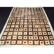 Modern Rugs Patchwork Box Brown Area Rug; Square 4'