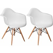 Mod Made Paris Tower Arm Chair (Set of 2); White