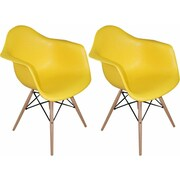 Mod Made Paris Tower Arm Chair (Set of 2); Yellow