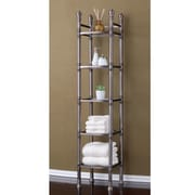 Fox Hill Trading Monte Carlo 14'' x 67'' Bathroom Tower Shelf; Brushed Titanium
