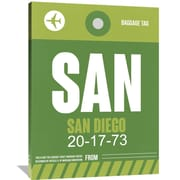 Naxart 'SAN San Diego Luggage Tag 2' Painting Print on Wrapped Canvas; 48'' H x 36'' W x 1.5'' D