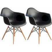 Mod Made Paris Tower Arm Chair (Set of 2); Black