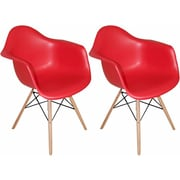Mod Made Paris Tower Arm Chair (Set of 2); Red
