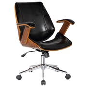 Porthos Home Noah High-Back Office Chair with Arms; Polished Obsidian