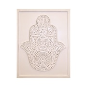 Leila's Home Living 'Hamsa Hand Embossed and Carved Wood' Graphic Art Wall Decor; 20'' H x 15'' W