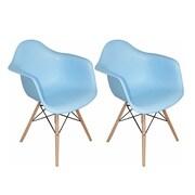 Mod Made Paris Tower Arm Chair (Set of 2); Blue
