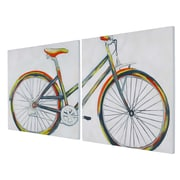 Gild 'Bicycle Diptych' Original Painting on Canvas