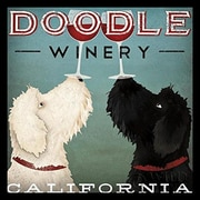 Buy Art For Less 'LabraDoodle Winery' by Ryan Fowler Framed Vintage Advertising