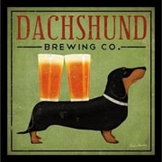 Buy Art For Less 'Dachshund Brewing Co' by Ryan Fowler Framed Vintage Advertising