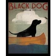 Buy Art For Less 'Black Labrador Dog Canoe' by Ryan Fowler Framed Vintage Advertising