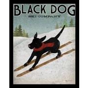 Buy Art For Less 'Black Labrador Dog Ski Company' by Ryan Fowler Framed Vintage Advertising