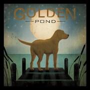 Buy Art For Less 'Moonrise Yellow Dog - Golden Pond' by Ryan Fowler Framed Vintage Advertising