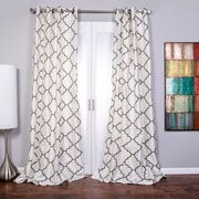Lambrequin Morocco Grommet-Top Single Curtain Panel; White/Gray
