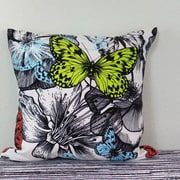 Arthouse Innovations Blooming Roses and Flying Butterflies Throw Pillow; 30'' H x 30'' W x 4'' D