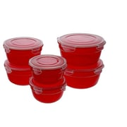 Lock & Lock 6-Piece Jewel Tone Bowl Storage Set; Cherry