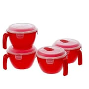 Lock & Lock 4-Piece Bowl with Lid; Red