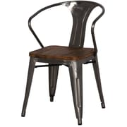 New Pacific Direct Metropolis Metal Arm Chair w/ Wood Seat (Set of 4); Gun Metal