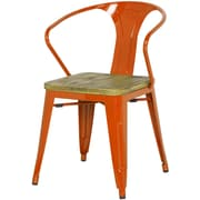 New Pacific Direct Metropolis Metal Arm Chair with Wood Seat (Set of 4); Orange
