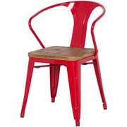 New Pacific Direct Metropolis Metal Arm Chair with Wood Seat (Set of 4); Red