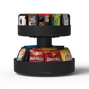 Mind Reader Supreme Lazy Susan 2-Tier Breakroom Snack Organizer, Black (SNACKCAR-BLK)