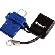 Verbatim Store 'n' Go Dual USB Flash Drive, 16GB, USB 3.0, Blue (99153)