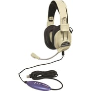Hamilton Buhl HA-66USBSM Deluxe USB Headset with Microphone, Over-the-Ear, Black/Beige