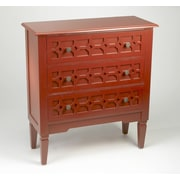 AA Importing 3 Drawer Chest; Antique Red