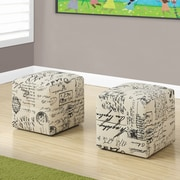Monarch Specialties Inc. Juvenile Vintage French Fabric Ottoman (Set of 2)