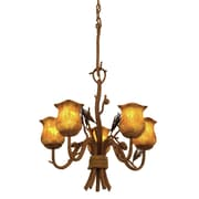 Kalco Ponderosa 5 Light Shaded Chandelier; Champagne Small Oval Glass