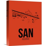 Naxart 'SAN San Diego Airport' Painting Print on Wrapped Canvas in Orange; 16'' H x 12'' W x 1.5'' D