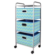 Bintopia Mini 3 Drawer Trolley Cart; Cyan Blue/Green