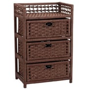 Household Essentials Paper Rope 3 Drawer Chest; Brown