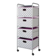 Bintopia 4 Drawer Fabric Cart; Heather Gray/White/Purple