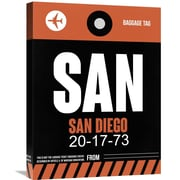 Naxart 'SAN- San Diego Luggage Tag 3' Painting Print on Wrapped Canvas; 24'' H x 18'' W x 1.5'' D