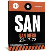 Naxart 'SAN San Diego Luggage Tag 3' Painting Print on Wrapped Canvas; 40'' H x 30'' W x 1.5'' D