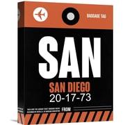 Naxart 'SAN- San Diego Luggage Tag 3' Graphic Art on Wrapped Canvas; 16'' H x 12'' W x 1.5'' D