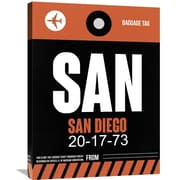 Naxart 'SAN San Diego Luggage Tag 3' Painting Print on Wrapped Canvas; 32'' H x 24'' W x 1.5'' D