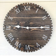 essex hand crafted wood products 18'' Round Reclaimed Style Wood Wall Hanging Clock