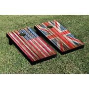 Victory Tailgate US and UK Flags Distressed Wood Cornhole Game Set