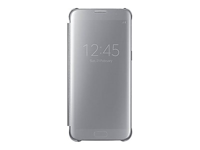 Samsung EF-ZG935CSEGUS Hard Plastic S-View Flip Cover for Galaxy S7 Edge, Clear Silver