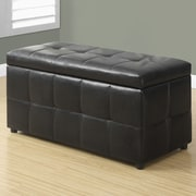 Monarch Specialties Inc. Faux Leather Storgae Ottoman; Dark Brown