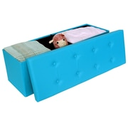 Songmics Folding Storage Ottoman; Blue
