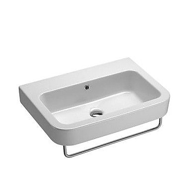 GSI Collection Traccia 25.6'' Curved Rectangular Ceramic Wall Mounted Bathroom Sink w/ Overflow
