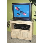 Wicker Warehouse Pavilion TV Stand; Whitewash
