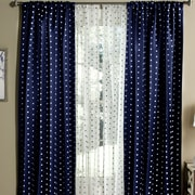 Lush Decor Polka Dots Blackout Window Single Curtain Panel (Set of 2); Navy