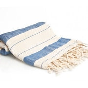 Buldano Traditional Turkish Style Peshtemal Turkish Bath Towel; Blue