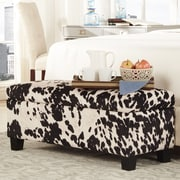 Kingstown Home Kendrick Upholstered Storage Bedroom Bench; Black Cow Hide Print Fabric