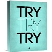 Naxart 'Try Try Try Poster' Textual Art on Wrapped Canvas in Blue; 16'' H x 12'' W x 1.5'' D
